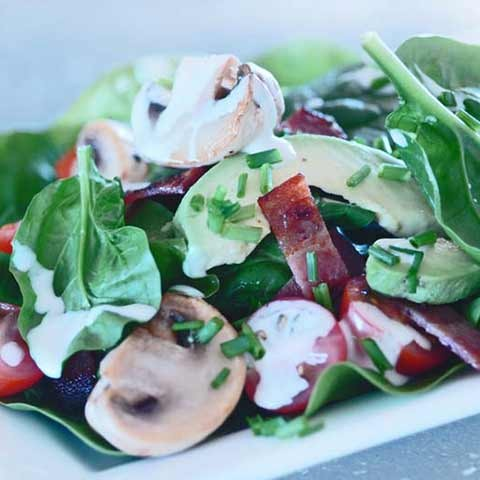 Warm Mushroom, Spinach & Bacon Salad