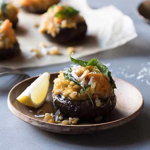 Cheesy Risotto Stuffed Portabello with Pumpkin & barley