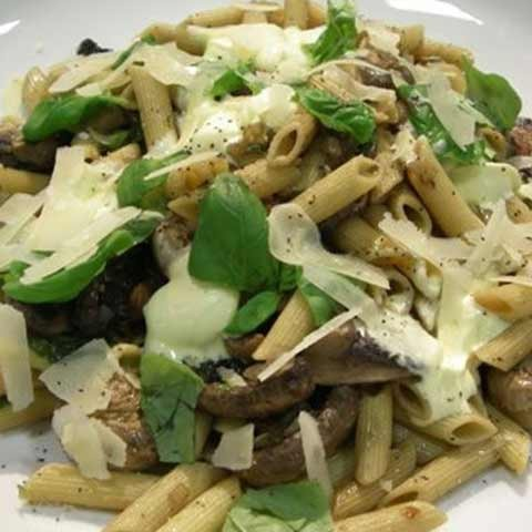 Button & Portabello Mushrooms with Penne Pasta & Cream Fraiche