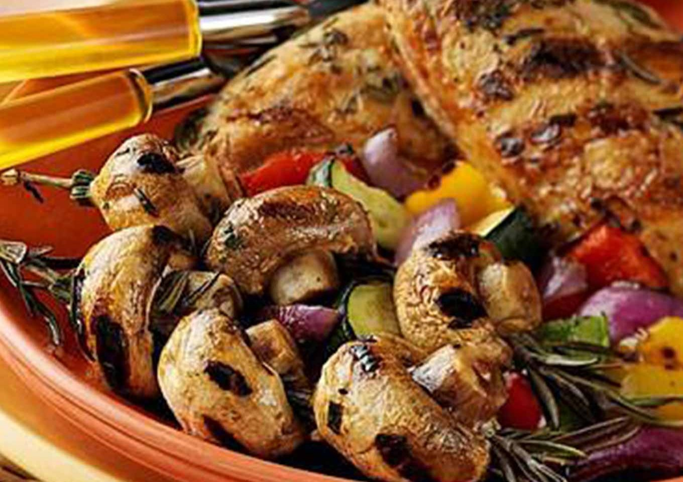 Chicken with Rosemary Mushroom skewers and mixed vegetables