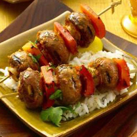 Chermoula Grilled Brown Button skewers