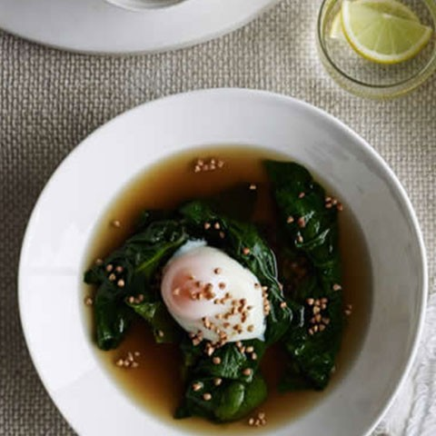 Beef & mushroom broth with poached egg & toasted buckwheat
