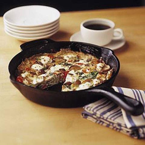 Mushroom, Spinach and Tomato Egg White Frittata with Goats Cheese