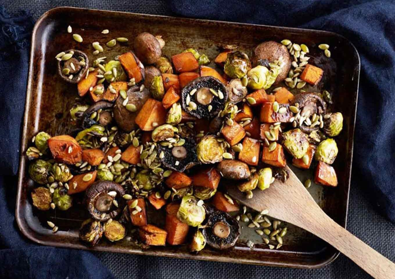 Pan roasted mushroom, pumpkin & Brussels sprouts with seeds