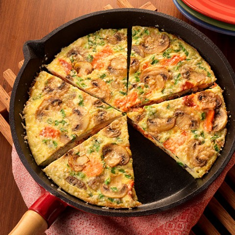Mushroom and Smoked Salmon Fritatta
