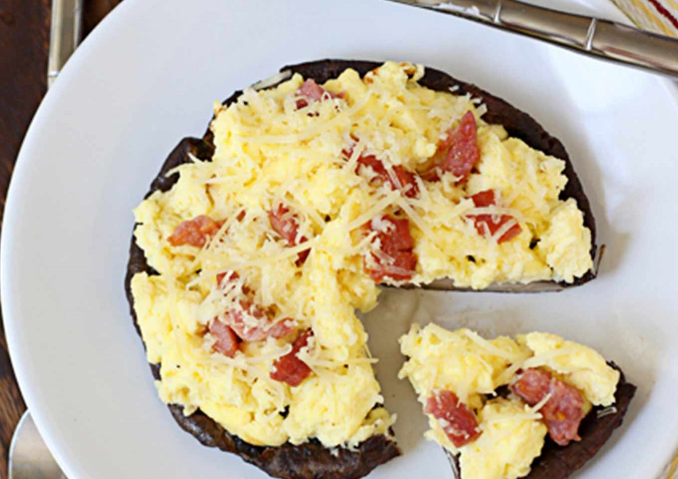 Portabello, Egg, & Pancetta Breakfast 'Pizzas'