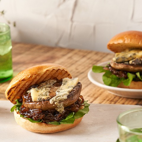 Al Brown's Portabello Mushroom Burgers with Caramelised Onion & Blue Cheese