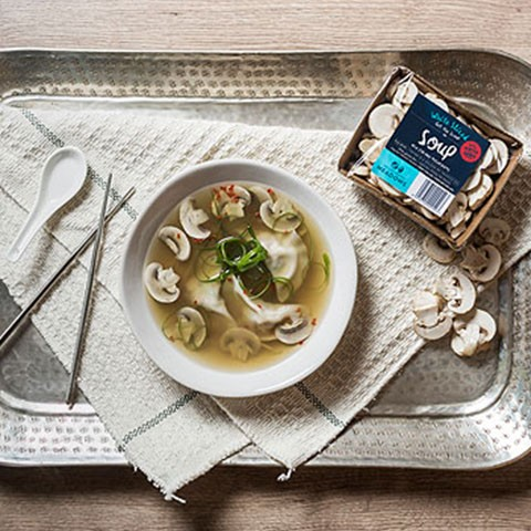 Asian Broth with Chicken and Mushroom Dumplings