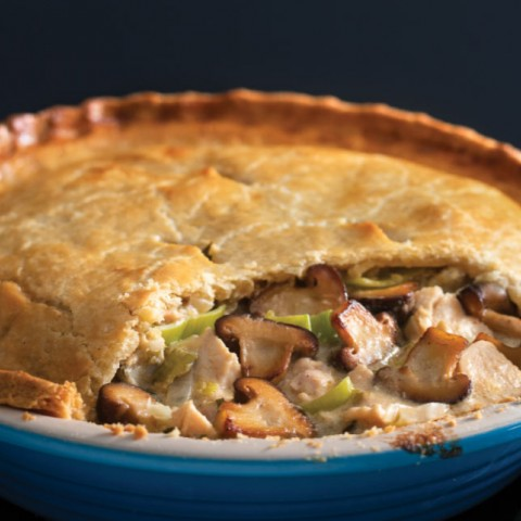 Chicken and shiitake pie