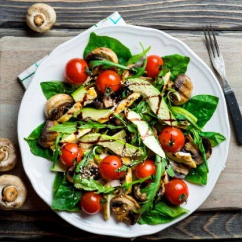 Grilled Chicken and Mushroom Salad with Honey Balsamic Dressing