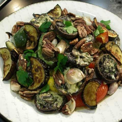 Roasted Vegetables with Portabello,  Pecans & Blue Cheese