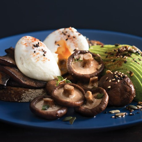 Mushrooms on toast with poached eggs, pickled shiitake and avocado